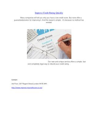 Improve My Credit Score UK - Tips to Improve Credit Score Lo