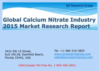 Global Calcium Nitrate Industry 2015 Market Research Report