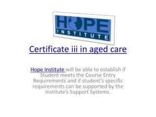 Certificate iii aged care