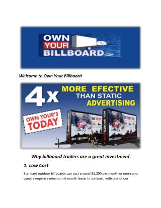 Own Your Billboard : #1 US Mobile Billboard Trailer Company