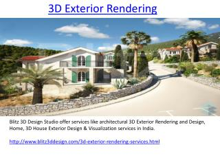3D Exterior  Rendering Services Provide Company