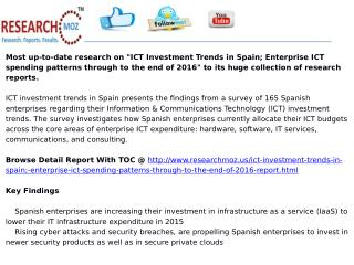 ICT Investment Trends in Spain; Enterprise ICT spending patt