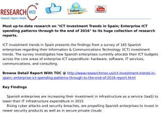 ICT Investment Trends in Spain; Enterprise ICT spending patt