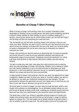 Benefits of Cheap T-Shirt Printing