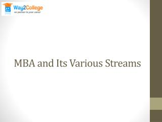 MBA and Its Various Streams