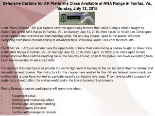 Defensive Carbine for AR Platforms Class Available at NRA