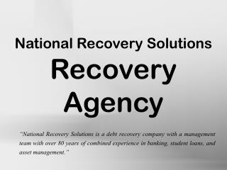 National Recovery Solutions - Recovery Agency