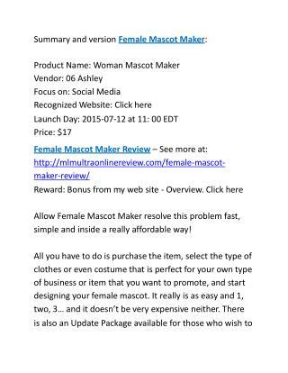 Female Mascot Maker Review