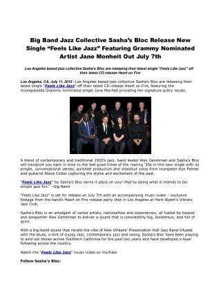 Big Band Jazz Collective Sasha's Bloc Release New Single