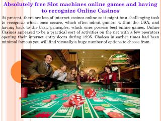 Absolutely free Slot machines online games and having to rec