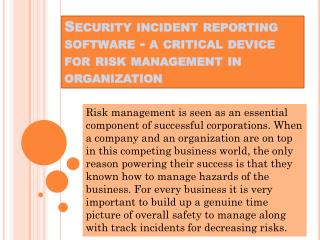 Precisely what is security Incident Reporting software? What