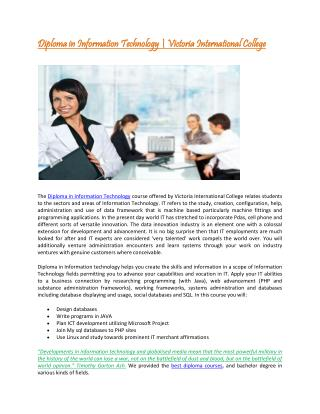 Diploma in information Technology at Victoria International
