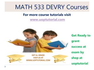 MATH 533 DEVRY Tutorial / Uoptutorial