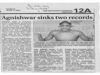 Agnishwar Jayaprakash Excels National Record - Sunday Expres
