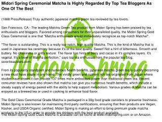 Midori Spring Ceremonial Matcha Is Highly Regarded By Top Tea Bloggers As One Of The Best