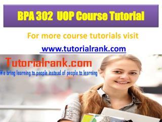 BPA 302 UOP Course Tutorial/TutotorialRank