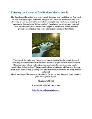 Entering the stream of meditation (meditation 1)