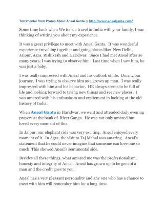 Testimonial from pratap about aneal ganta @ anealganta com