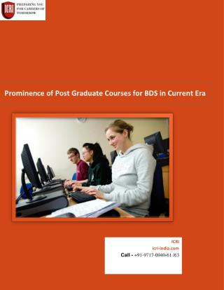 Carreer Option After BDS, Post Graduate Courses for BDS