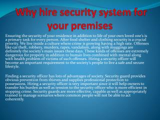 Why hire security system for your premises