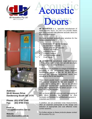 Acoustic Doors | Sound Proof Doors Melbourne - dB Acoustics