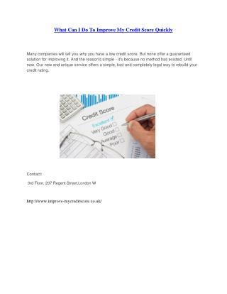 Improve My Credit Score UK - Tips to Improve Credit Score London