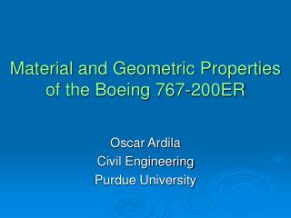 Material and Geometric Properties of the Boeing 767-200ER