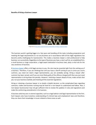The Benefits of Hiring a Business Lawyer