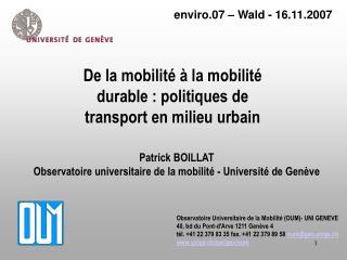 De la mobilit    la mobilit  durable : politiques de transport en milieu urbain