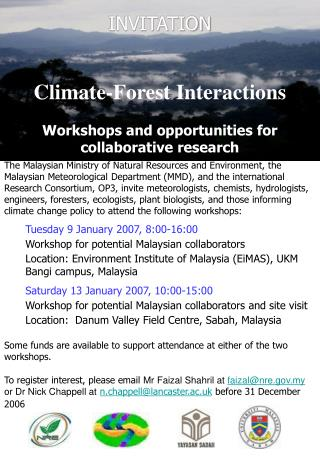 Climate-Forest Interactions  Workshops and opportunities for collaborative research