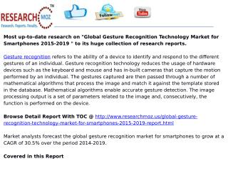 Global Gesture Recognition Technology Market for Smartphones 2015-2019