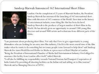 Sandeep Marwah Announced 162 International Short Films