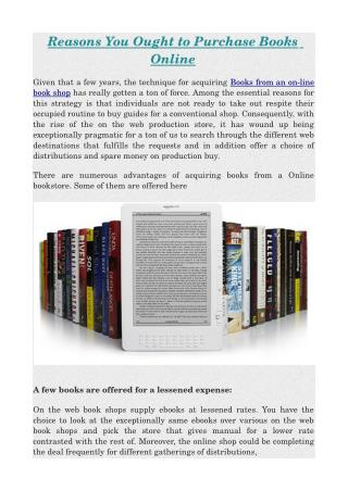 Reasons You Ought to Purchase Books Online