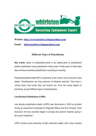 Different Types of Polyethylene