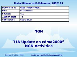 TIA Update on cdma2000  NGN Activities