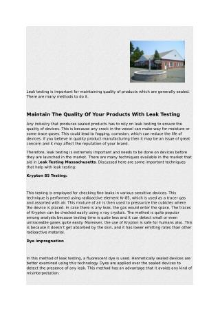 Maintain The Quality Of Your Products With Leak Testing