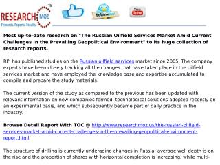 Russian Oilfield Services Market Amid Current Challenges in the Prevailing Geopolitical Environment