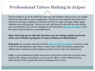 Professional Tattoo Making in Jaipur