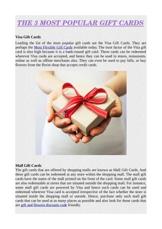 THE 3 MOST POPULAR GIFT CARDS