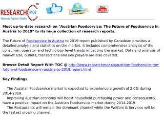 Austrian Foodservice: The Future of Foodservice in Austria to 2019