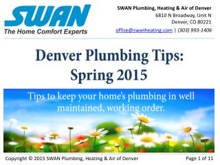Spring Plumbing Tips in Denver, CO