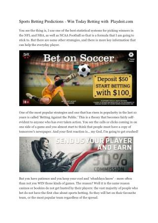 Sports Betting Predictions - Win Today Betting with  Playdoit.com