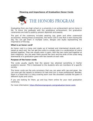 Meaning and Importance of Graduation Honor Cords