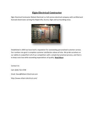 Elgin Electrical Contractor