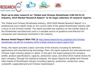 Global and Chinese Dimethoate (CAS 60-51-5) Industry, 2015 Market Research Report