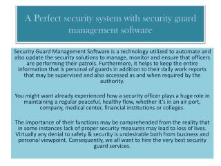 A Perfect security system with security guard management software