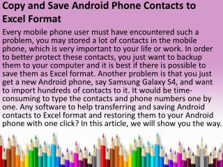 Copy and Save Android Phone Contacts to Excel Format