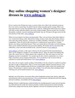 Buy ETHNIC WEAR For Women Online At www.ashtag.in