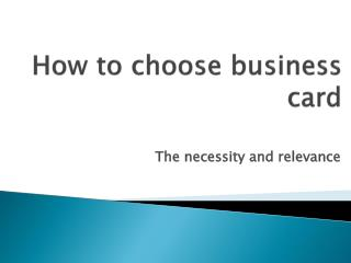 how to choose business card
