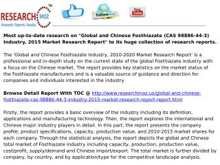 Global and Chinese Fosthiazate (CAS 98886-44-3) Industry, 2015 Market Research Report